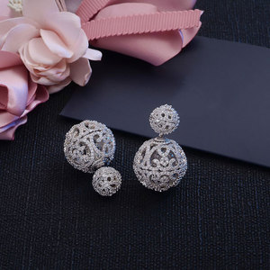 Image 5 - Luxury Full Micro Cubic Zirconia Pave Double Sided Hollow Balls  Jacket Earrings Trendy Costume Jewelry