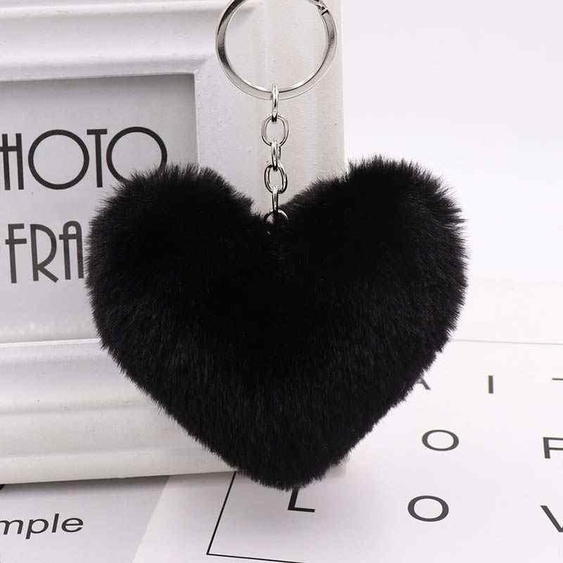 Popular feminino 10 cm acessórios de jóias bonito coração chaveiros carro chaveiro anel de pele de coelho falso venda quente 1 pc