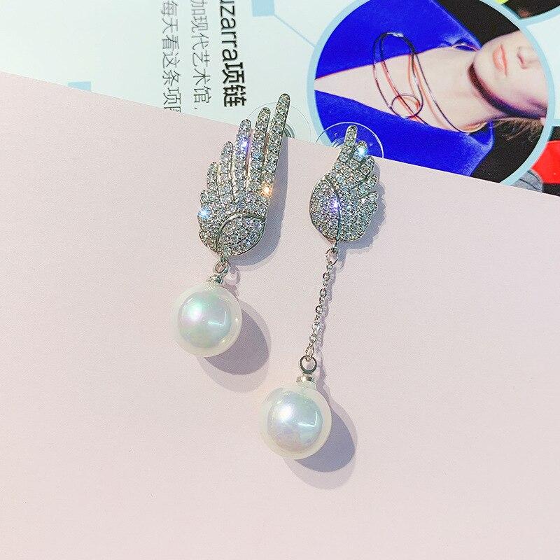 DREJEW Asymmetrical Angel Wings Pearl Rhinestone Statement Earrings 2019 925 Drop Earrings Sets for Women Wedding Jewelry HE0611 in Drop Earrings from Jewelry Accessories