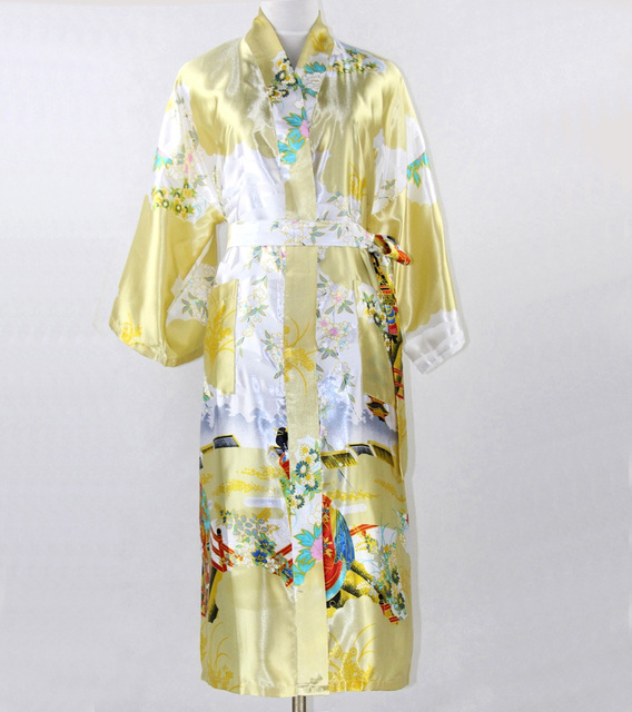 Flower Gold Japanese Female Kimono Yukata Gown Long Silk Rayon Lingerie Robe Nightwear Printed Mujer Pijama Plus Size XXXL SR010