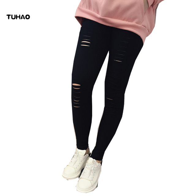 TUHAO 2018 Spring summer Women Bodycon Black hole Pant plus size 4XL 3XL Elastic Vintage Holes Simple Pockets Pencil Pants AL15