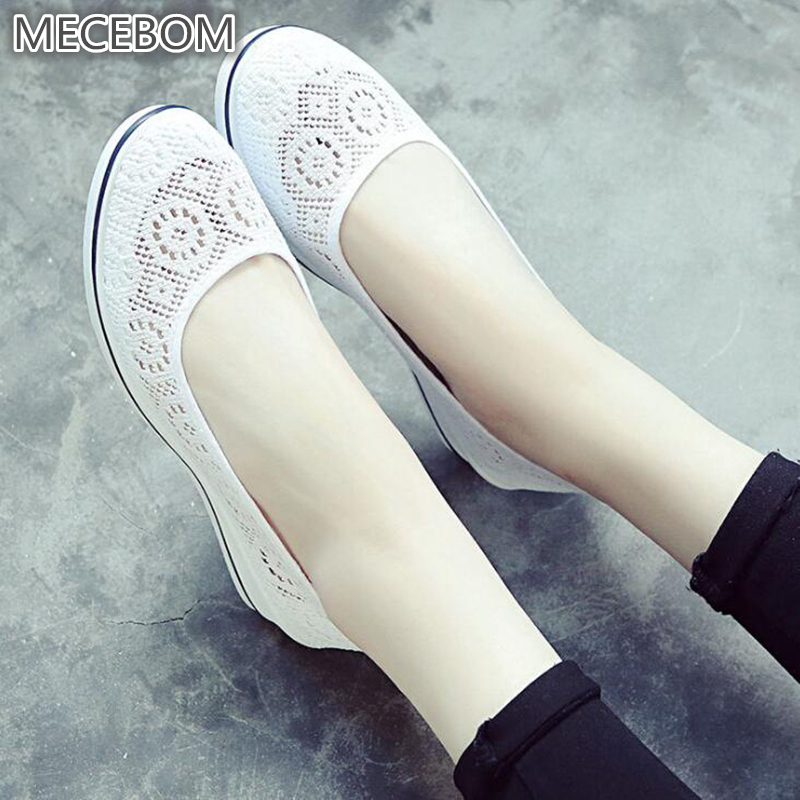 2018 Summer Hollow Mesh Camping Flat Heel Wedge Platform Sneakers Sport M Loafer Women Shoes Footwear Zapatillas Mujer 35W