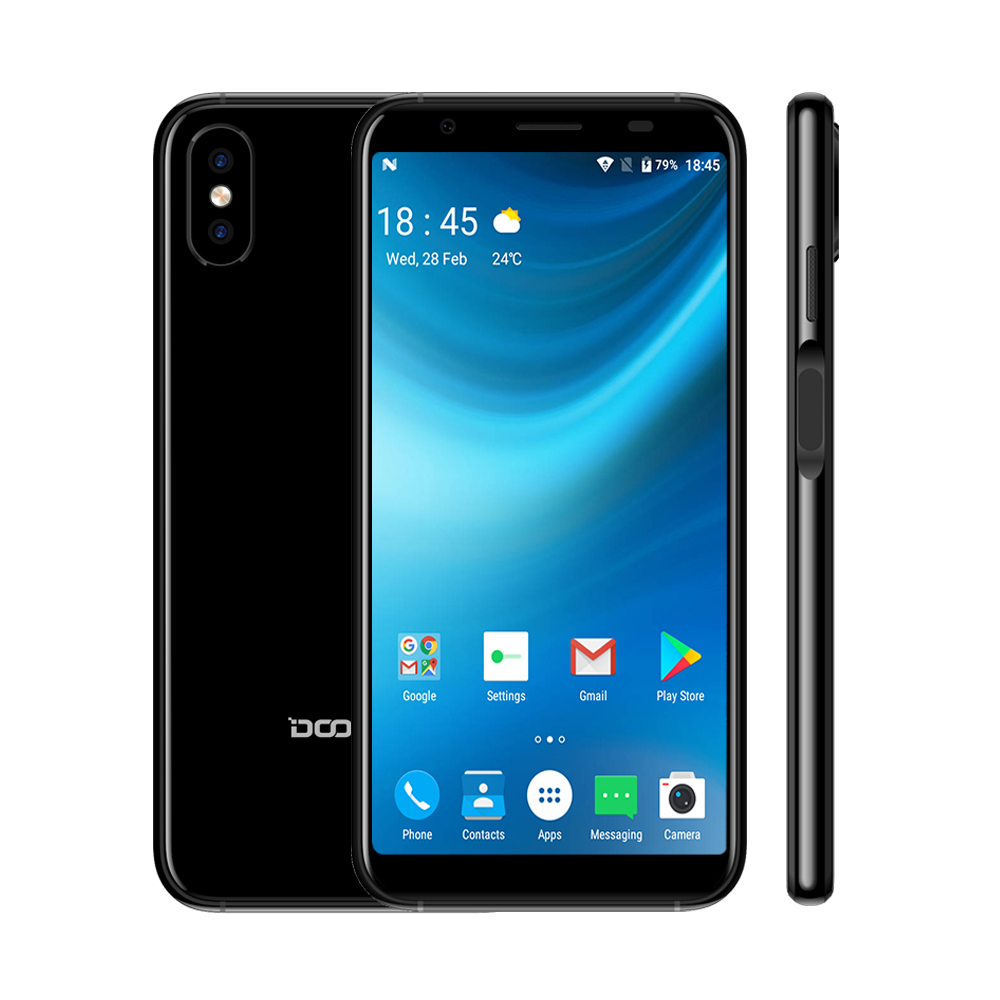 2018 DOOGEE MTK6580 X55 Android 7.0 5.5 Polegada 18:9 HD Quad Core 8.0MP 16 GB ROM Dual Camera 2800 mAh lado de Impressão Digital Smartphone
