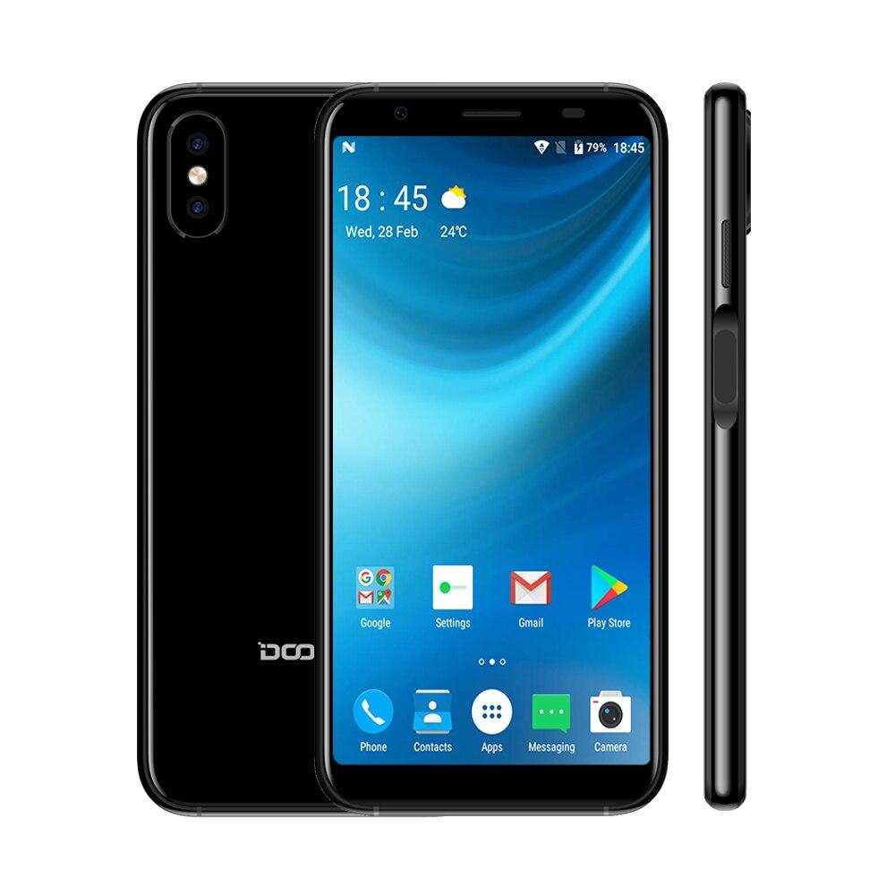 2018 DOOGEE X55 Android 7,0 5,5 дюймов 18:9 HD MTK6580 4 ядра 16 ГБ Встроенная память двойной Камера 8.0MP 2800 мАч сбоку смартфон с отпечатками пальцев