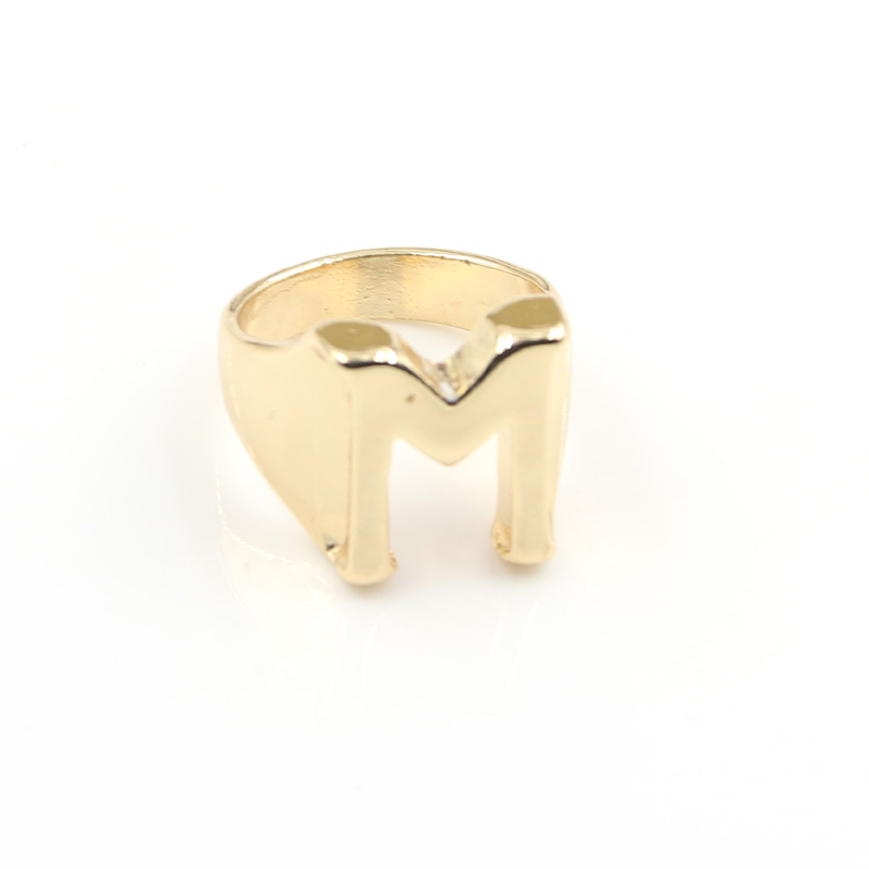 Fashion Brand Design Alphabet Letter Ring Women Ring Gold Plated