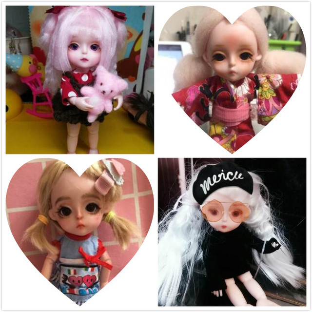 Small Princess Doll 1/8 Cute  bjd  1/8 joint body 3D eye plastic doll suitable for 18 wig face can DIY Head circumference 14cm