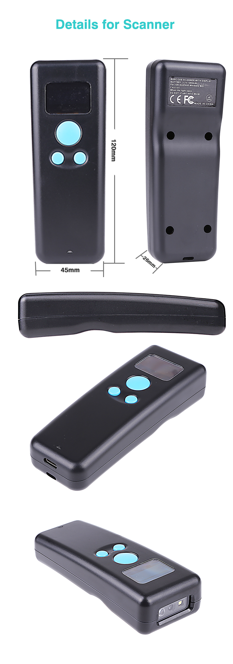 2D/QR/1D 2 4G bluetooth Pocket Scanner warehouse retail