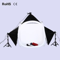 Photography Studio Set:90cm*90cm Light Tent Round Soft box&3* 50*70cm Soft box&3*135w lighting bulb&2*50cm light stand