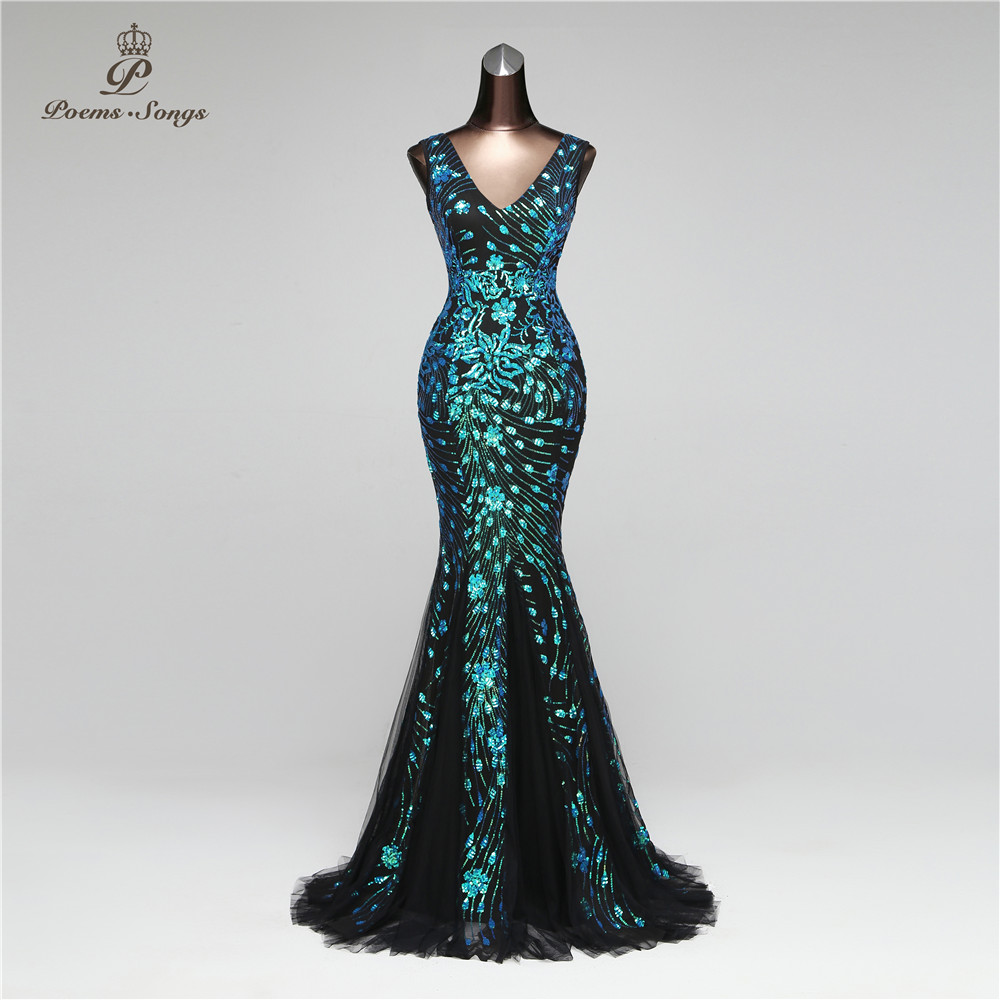 Poems Songs 2019 Elegant Mermaid Sequin Dresses vestido de festa Sexy Backless dress robe longue Party
