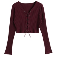 CharMma 2017 New Autumn Sexy Lace Up Ribbed Crop Knitted Tee Women Long Sleeve Slim Top