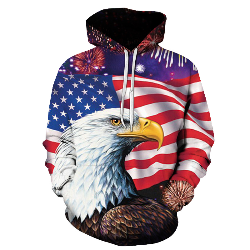 2018 Mens Fashion Hoodie Eagle 3D Print Sweatshirts American Flag Hooded Sweats Tops Hip Hop Graphic Pullover Dropship