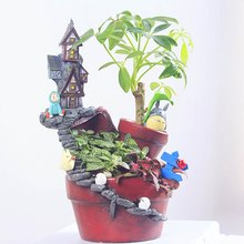 Resin Home Castle Shape Flower Pot Moss Micro Landscape Planter DIY Dollhouse Fairy Garden Decoration Supply(China)