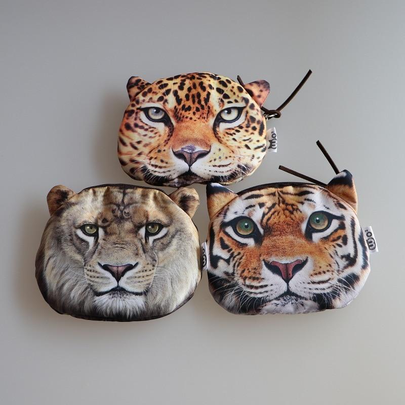 Novelty Girl 2016 Brand New Fashion Cartoon Cute Cat / tiger Face Zipper Case Coin Case Purse Wallet Makeup Buggy Bag Pouch