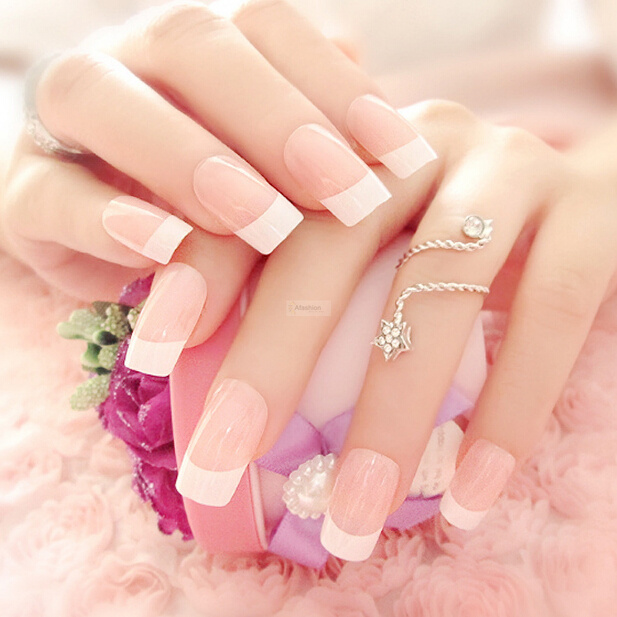 24pcs Romantic Nail Art Tips Girls Bride Pre Designed False French ...