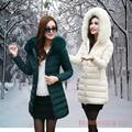 New Women Slim Down acolchoado casaco gola de pele casaco longo