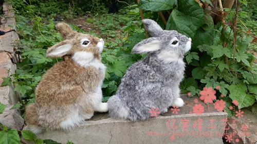 large 17x18cm simulation rabbit model toy polyethylene furs squatting rabbit model handicraft home decoration gift t381