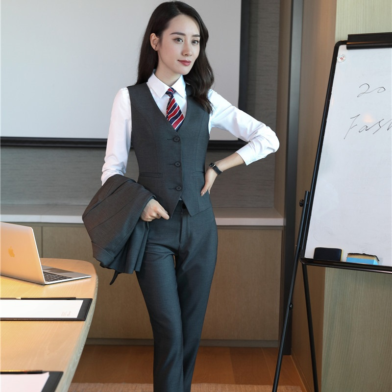 Vest Formal For Ladies With Sets Pantsuits Blazers Work And Grey Business Women Suits Autumn black Grey Wear Office Coat Winter Pants zqXA5w