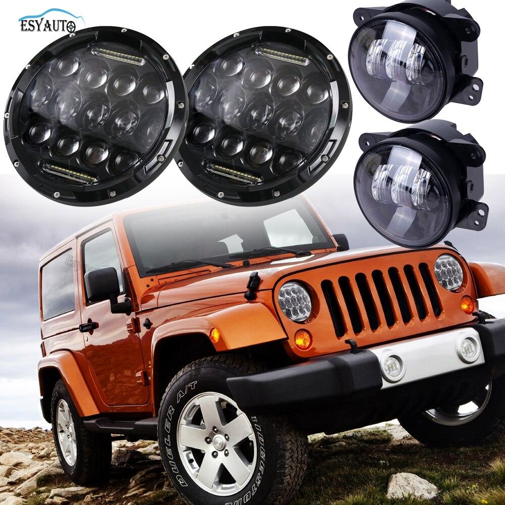 7 дюймов 75W фар Привет/Lo Луч 6000K светодиодные+4 дюймов противотуманные фары проектор Daymaker светодиодные фары для Wrangler CJ и ТДЖ