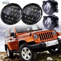7 Inch 75W Headlights Hi Lo Beam 6000K LED 4 Inch Fog Lights Daymaker Projector LED