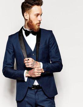 New Design One Button Navy Blue Groom Tuxedos Groomsmen Men's Wedding Prom Suits Bridegroom (Jacket+Pants+Vest+Tie) K:867