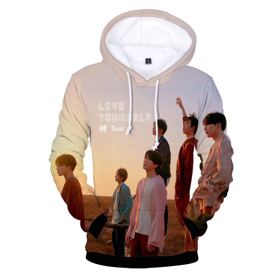 BTS New Album BTS LOVE YOURSELF Turn Tear 3D Print Trends Casual Sweatshirt Hoodies Men's/Women's Q0060-Q0064