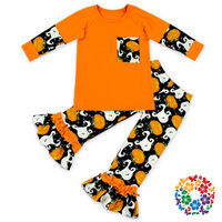 2016 new hot sale baby girls outfits halloween baby kids boutique baby girl kid halloween outfits pumpkin sets