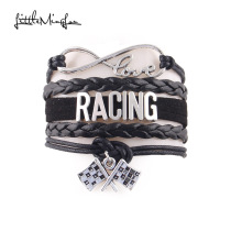 Little Minglou infinity love RACING Bracelet flag charm wome