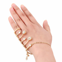Luxurious Czech Rhinestone Crystal Bridal Bracelets & Bangles With Flower Ring Wedding Jewelry Accessory Handlet Aneis Feminino