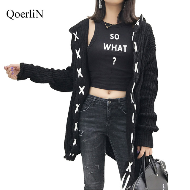Qoerlin Black White Gray Long Cardigan Hooded Knitted Ugly Christmas