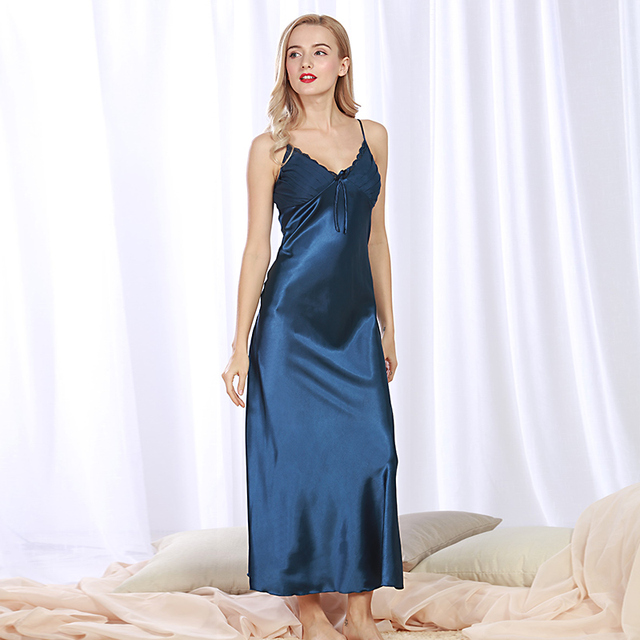 9bb0bc31d3efb Ladies Sexy Silk Satin Long Nightgown Sleeveless Nighties V-neck Sleepshirt  Summer Night Dress Elegant