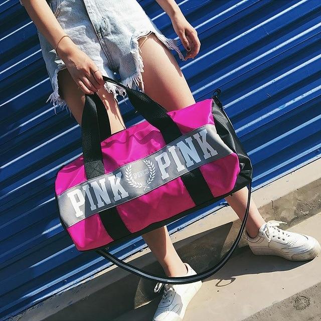 WOAMN Love Pink Handbag VS fashion girl stripe duffle bag colorful VS Zipper Shoulder Versatile Sack Summer Holiday Beach letter