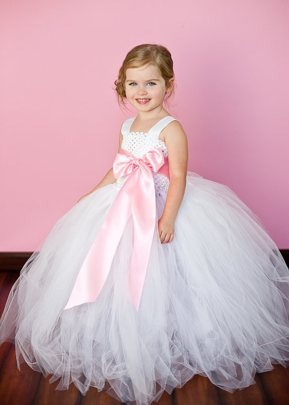 12 Color Ribbon Bow 2Y-12Y White Flower Girl Tutu Dress For Birthday Photo Wedding Party Festival Girls Flower Dresses elegant white flower girl dresse light pink girls tutu dresses with pearls flower baby girls dresses for wedding party birthday
