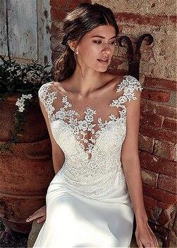 Modest Soft Satin Bateau Neckline Mermaid Wedding Dresses With Lace Appliques Sheer Bridal Dress Illusion Back 4