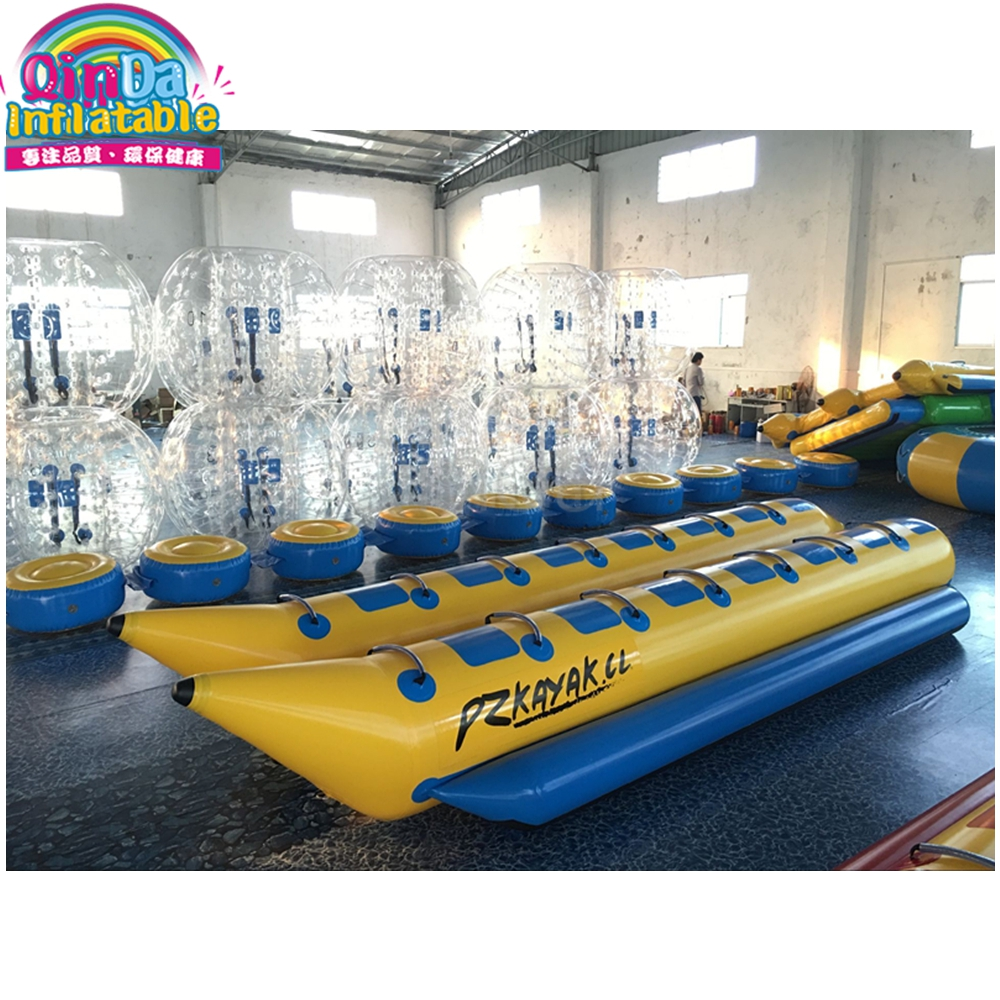 Factory Cheap Price 14 Seats Double Tube Inflatable Banana Flying Fish Boat for Rental