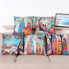 Maiyubo Linen Pillow Cover Vintage European Building Style Pattern Cushion Cover Home Decorative Cheap Pillow Case 45x45cm PC109