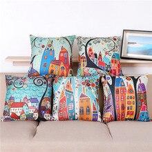 Maiyubo retro European Building Style Cushion Cover decorative pillows housse de coussin Linen Pillow Cover PC109