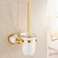 Bath Tool Golden Space Aluminum Toilet Brush Holder Bathroom organizer For Cleaning Brush Storage Rack European Style