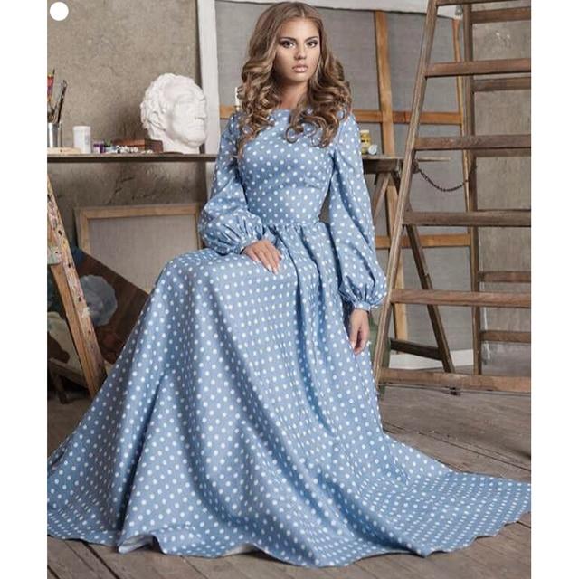 cef8beefc8 EXCELLENT QUALITY New Fashion 2018 Designer Maxi Dress Women s Puff Sleeve  Dot Printed Blue Cotton Long Dress