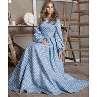 EXCELLENT QUALITY New Fashion 2018 Designer Maxi Dress Women's Puff Sleeve Dot Printed Blue Cotton Long Dress