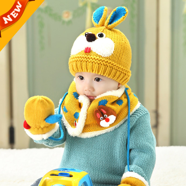 8bc203f0b9ce8 Children Winter Hat Set Cotton knitting Boy Hat Scarf Suit   Baby Winter Hats  Scarf Gloves Set Girls Hat For Toddler Baby C766