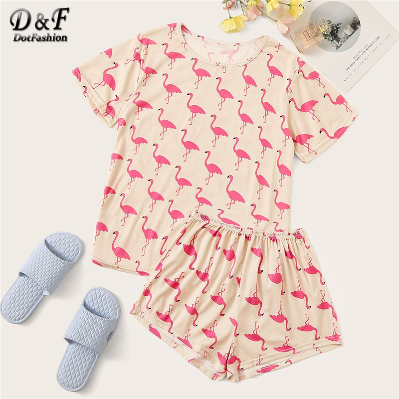 Dotfashion Animal Flamingo Print   Pajama     Set   2019 Summer Casual   Pajamas   For Women Spring Ladies Short Sleeve Fashion Loungewear