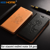 For Xiaomi Redmi Note 5A Pro Case Flip Embossed Genuine Leather Soft TPU Back Cover For