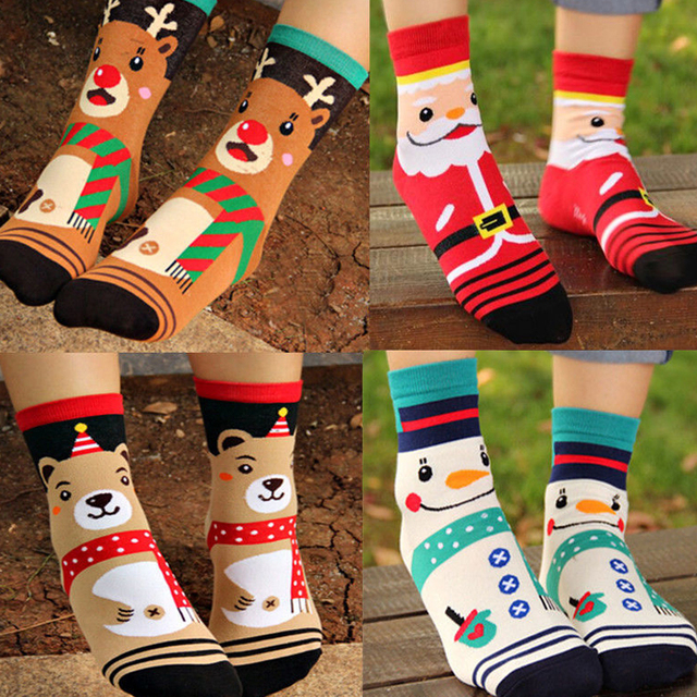 LNRRABC Fashion Casual Women Autumn Winter Christmas Socks Santa Claus Cotton Girls Cartoon Funny Socks Calcetines Gift