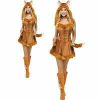 New Fashion Halloween Cat Girl Costumes For Women Fantasia Bar Costume Halloween Lovely Small Fox