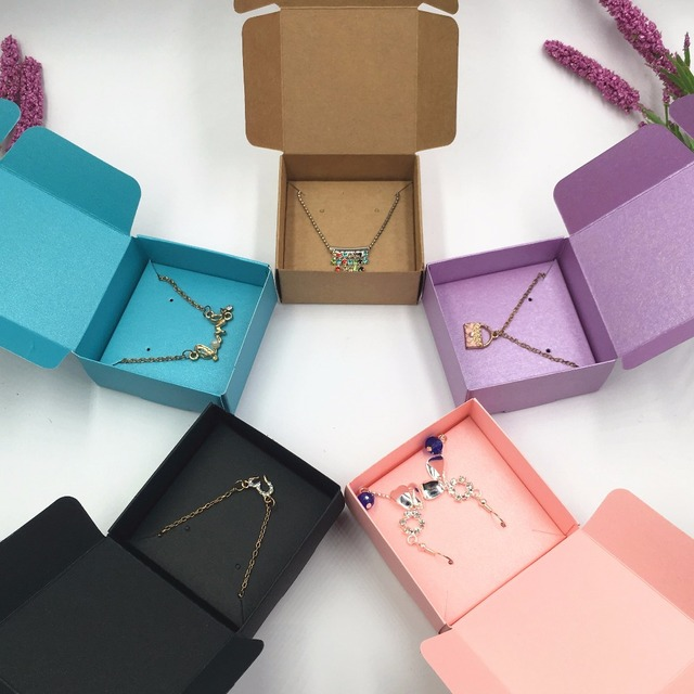 50set Kraft Paper Jewelry Boxes Blank Necklace Earring Kinds Accessory Carrying Box Paper Storage Gift Boxes