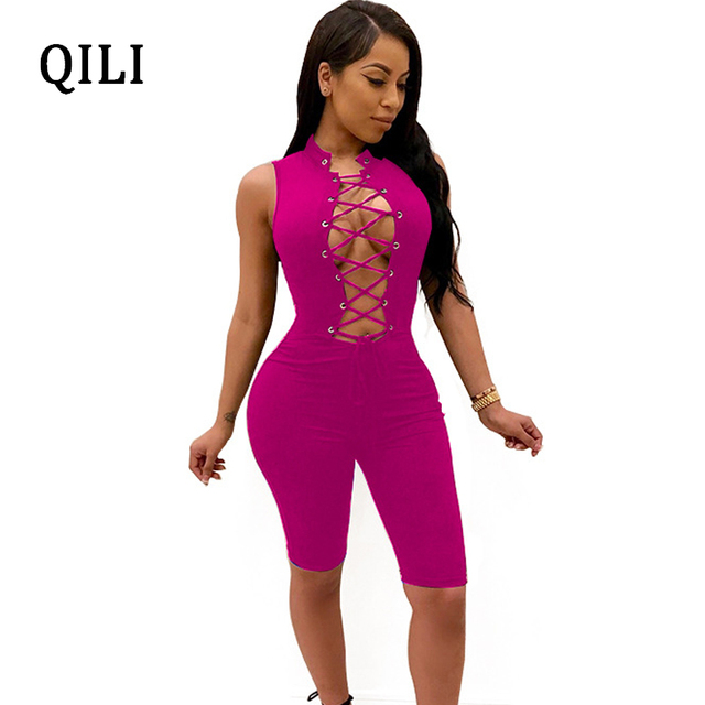 9247061f0bb QILI Women Sexy Open Chest Lace Up Rompers Blue Black Yellow Rose-red  Sleeveless Solid