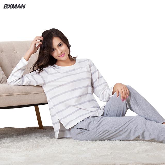 Bxman marca mulheres clássico Pijamas Hombre algodão listrado O pescoço completo manga Sleepwear pijama 239