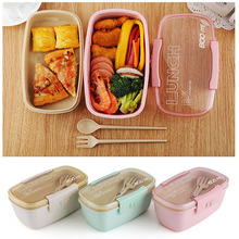 2019 Healthy Material Lunch Box Double Layer Wheat Straw Bento Boxes Microwave Dinnerware Food Storage Container Lunchbox 800ml