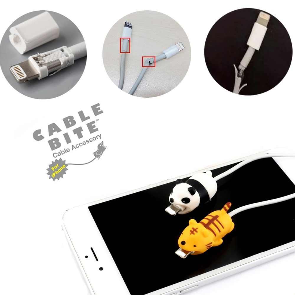 1 pièces mignon animaux Usb chargeur câble morsure protecteur pour Iphone android USB câble chargeur protecteur
