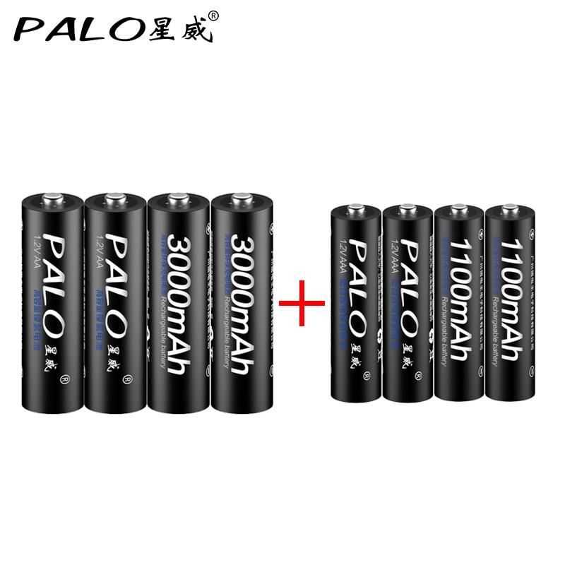 PALO 4pcs 1.2V 3000mAh AA Batteries +4Pcs 1100mah AAA Batteries NI-MH AA/AAA 3A Rechargeable Battery With Battery Box Gift 3 6v 2400mah rechargeable battery pack for psp 3000 2000